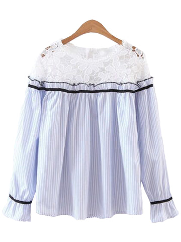 'Kimber' Lace Yolk Pleated Top