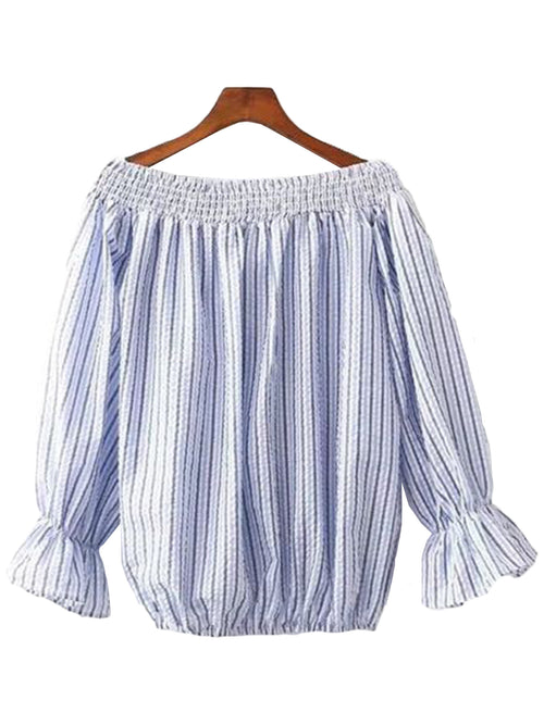 'Kendyl' Striped Off Shoulder Shirt Top