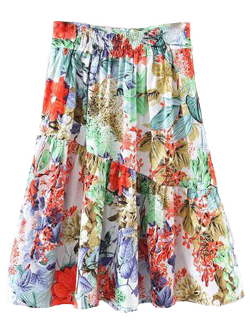'Samiya' Long Floral Pleated Skirt