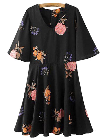 'Miya' Black Floral Peplum Flare Dress