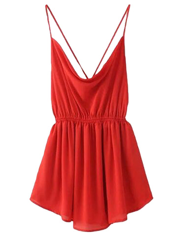 'Jewel' Red Criss Cross Mini Dress