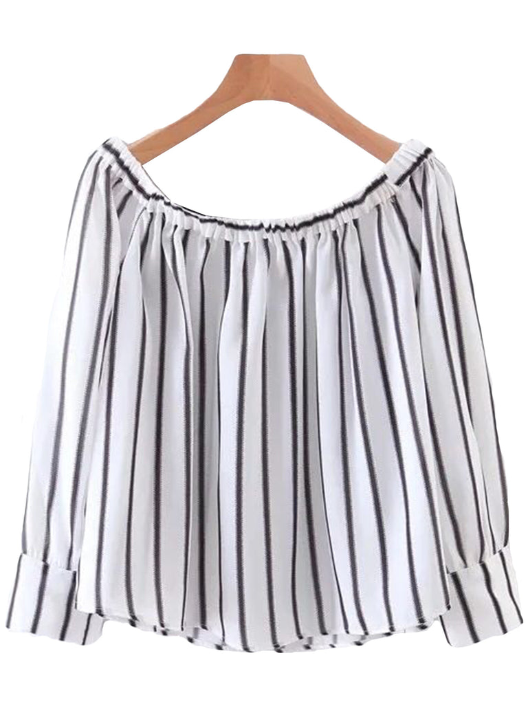 'Risa' Striped Off Shoulder Crop Top