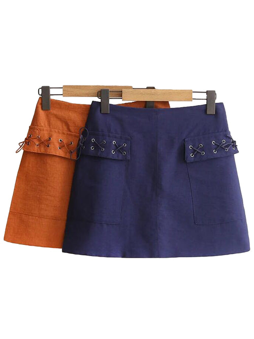 'Cheyanne' Criss Cross Pocket Detail Skirt