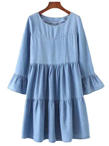 'Ingrid' Chambray Layered Peplum Flare Dress