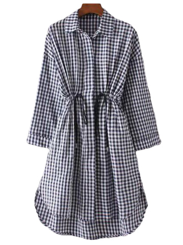 'Kenna' Plaid Mock Shirt Dress