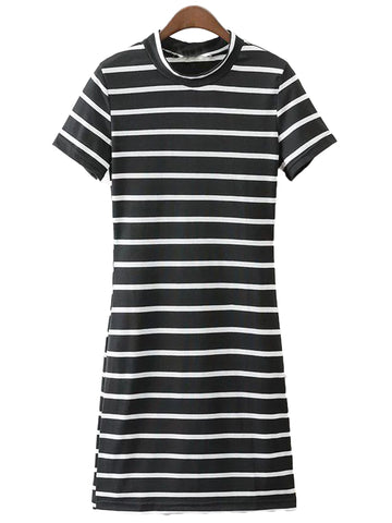 'Salma' Striped Short Sleeve T-shirt Dress