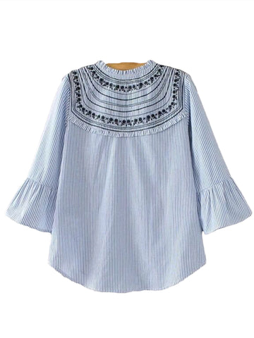 'Paloma' Blue Embroidered Flare Top
