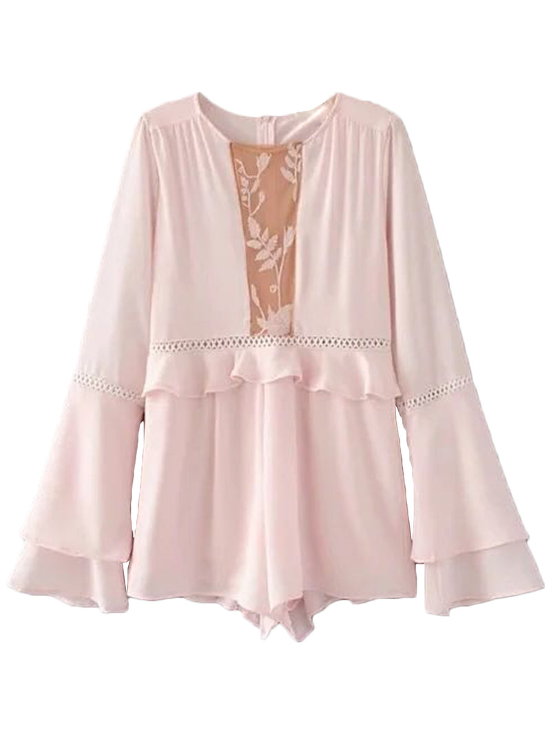 'Jessica' Pink Lace Trimmed Frill Romper