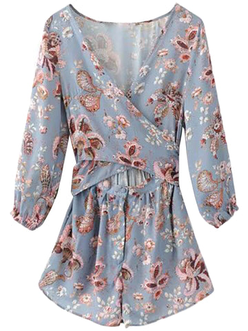 'Kinsey' Blue Cross Wrap Floral Romper