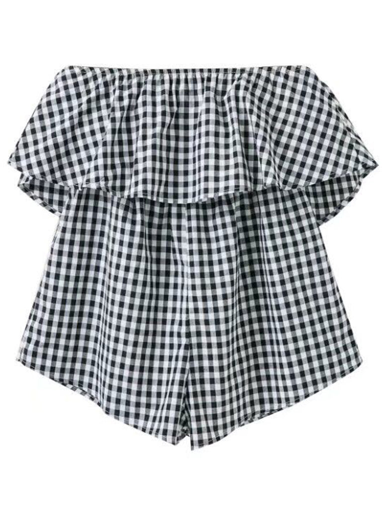 'Jill' Plaid Off Shoulder Ruffle Romper