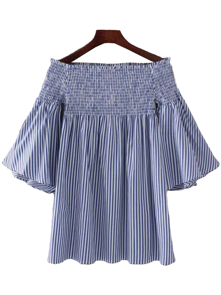 'Jasmin' Blue Striped Off Shoulder Flare Dress