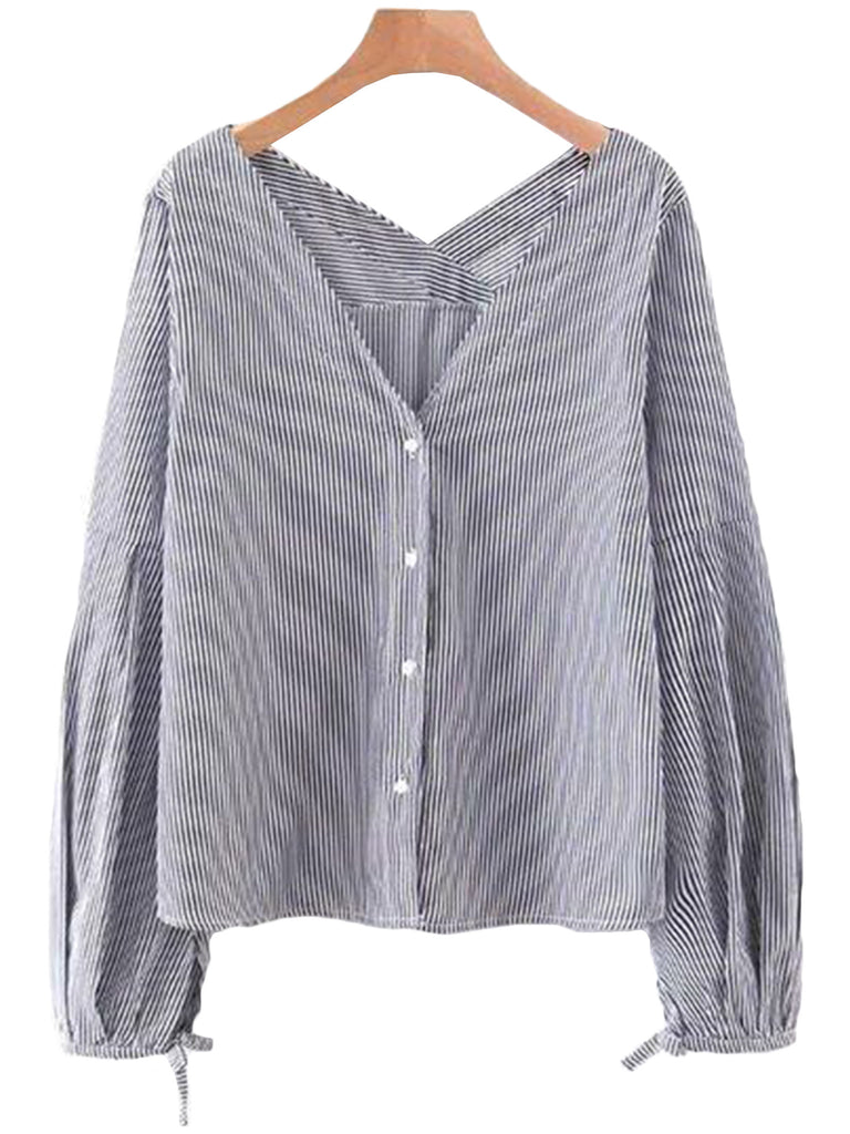 'Tory' Black Striped Button-up Shirt