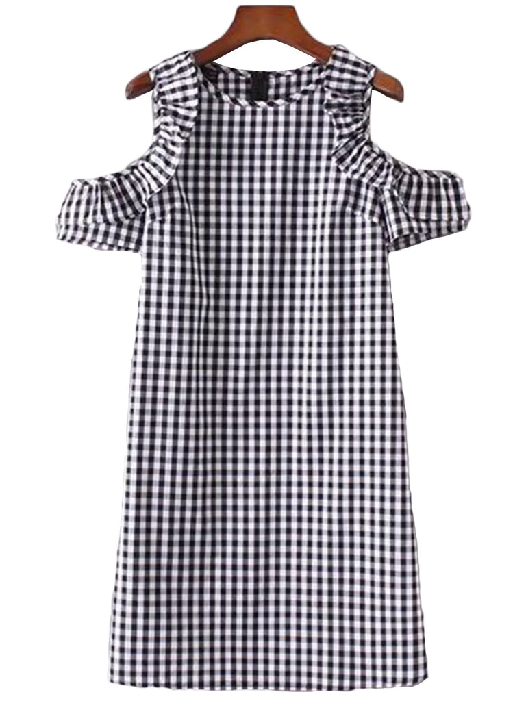 'Lacey' Plaid Cut Off Frilled Shoulder Dress