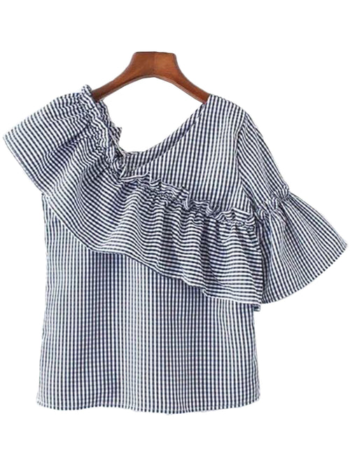 'Gisela' Gingham Side Ruffle Top