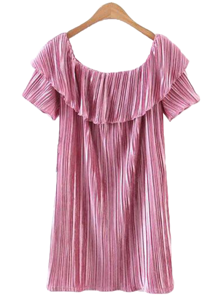 'Kelli' Pink Ruffle Swing Dress