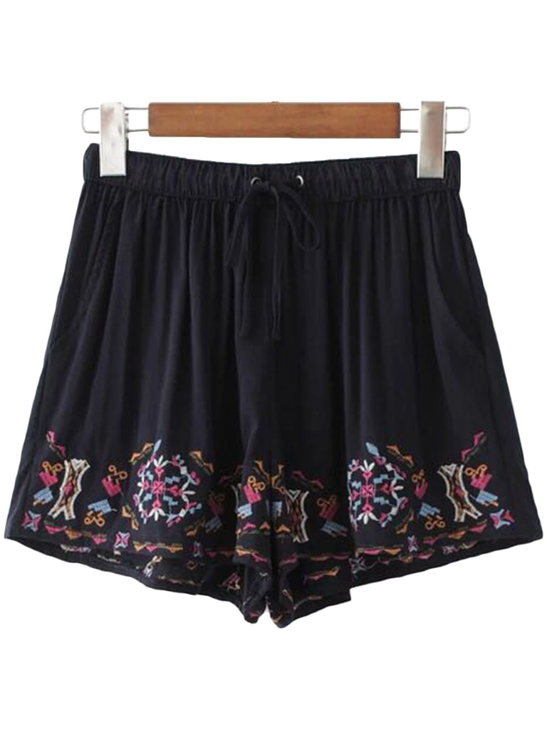'Raquel' Black Jersey Embroidered Shorts