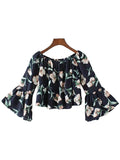 'Magarette' Flare Floral Crop Off Shoulder Top
