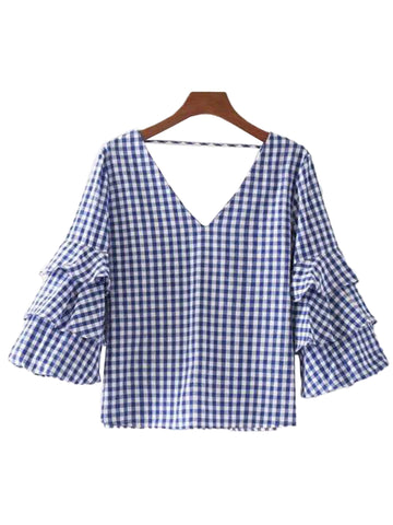 'Regina' Plaid V-neck Ruffled Sleeve Top