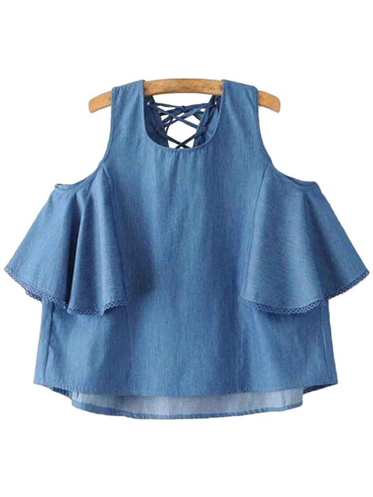 'Lorena' Chambray Criss Cross Cut-out Shoulder Top