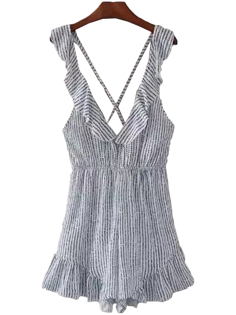 'Larissa' Striped Frilly Hem Romper