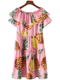 'Alaina' Pink Pineapple Print Layered Peplum Dress
