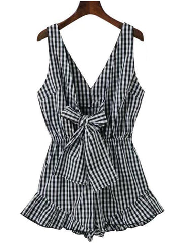 'Joy' Plaid V-neck Frilled Bow Romper