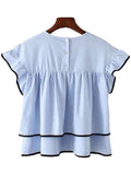 'Robbyn' Contrast Edge Frilled Top