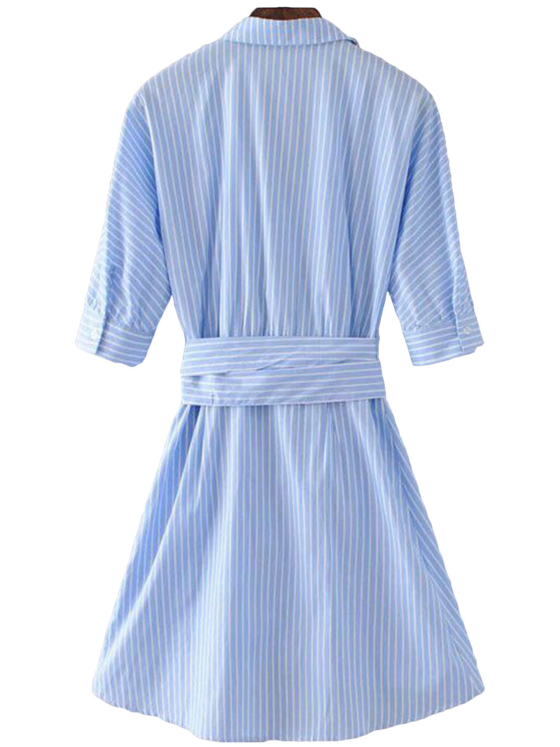 'Chasity' Striped Flare Wrap Shirt Dress