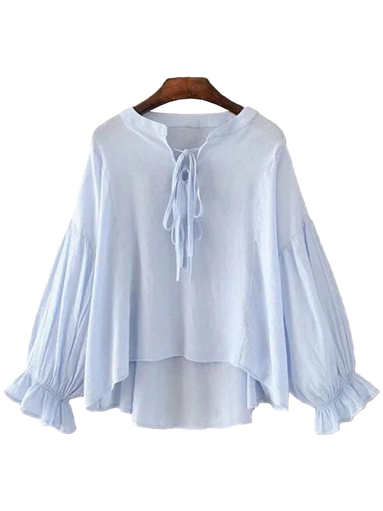 'Sierra' Blue Drawstring Mock Blouse