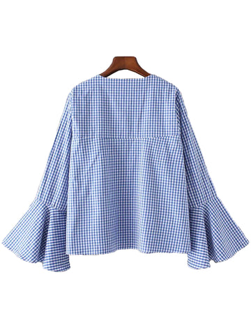 'Lory' Blue Plaid Flare Top