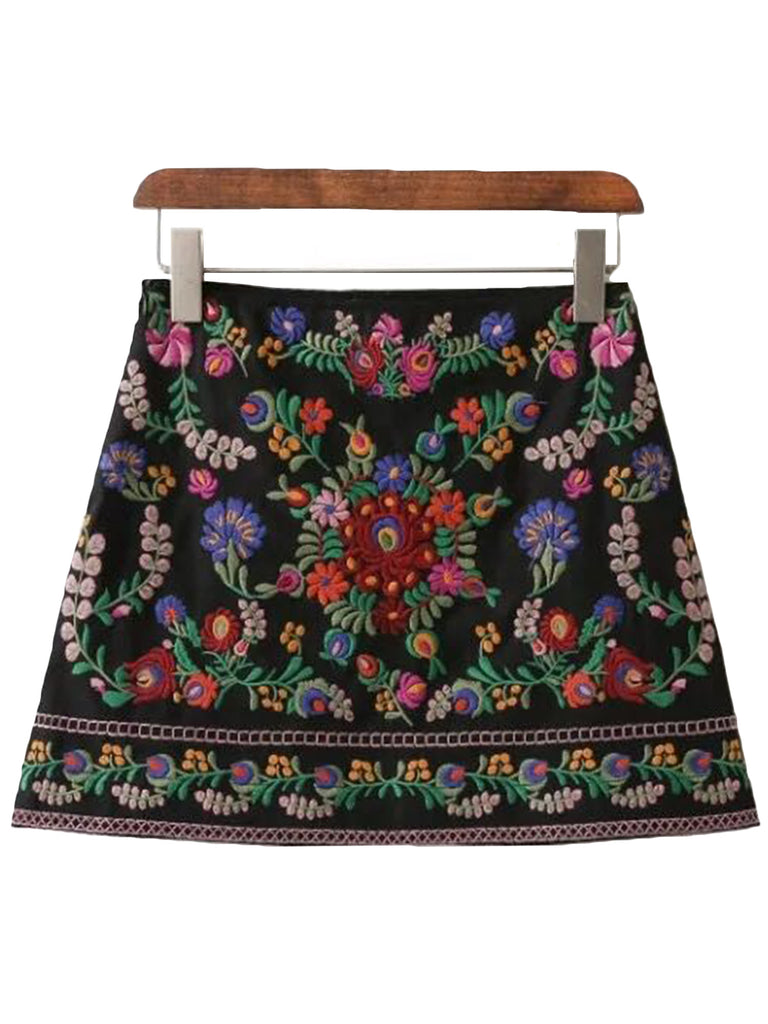 'Katia' Black Embroidered Skirt