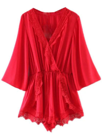'Laurice' Lace-Edged Romper