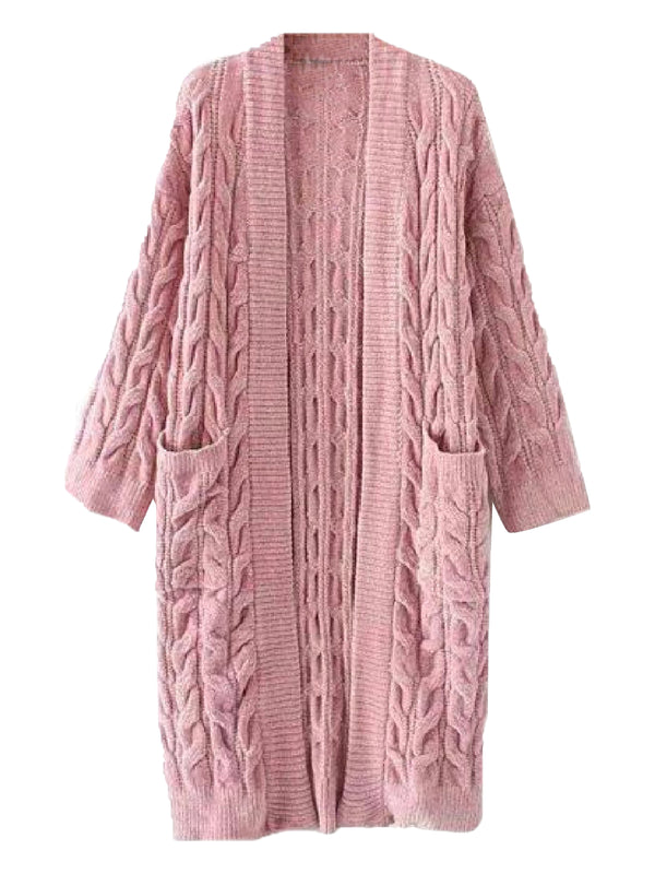 Goodnight Macaroon 'Timia' Cable Knit Long Cardigan Pink Front