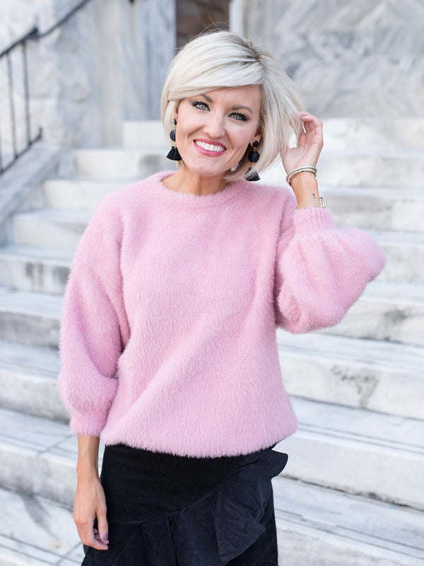 'Jamee' Blush Pink Fuzzy Angora Sweater by Loverly Grey