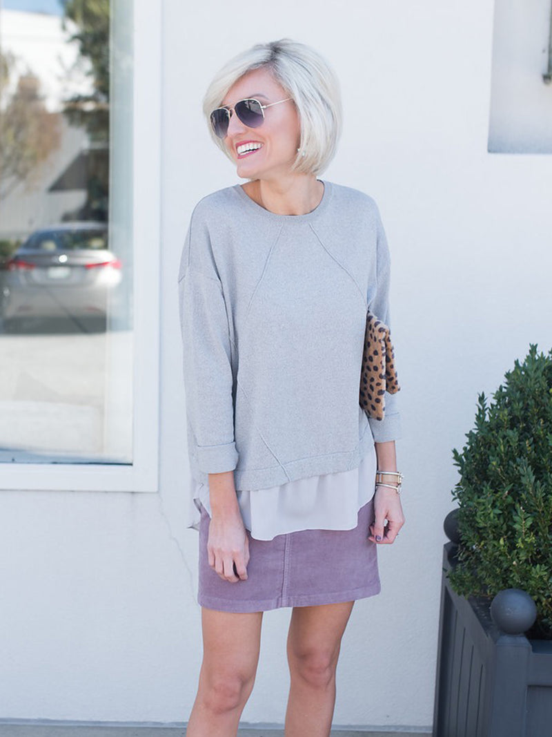 'Salina' Mock Layer Lightweight Sweater by Loverly Grey
