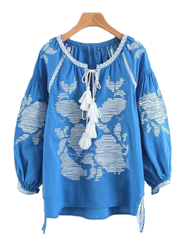 'Monna' Embroidered Tassel Top (2 Colors)