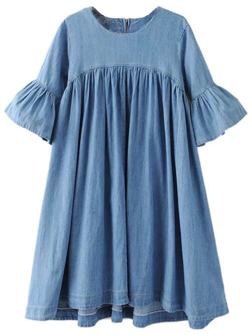 'Kynthia' Chambray Flare Sleeve Peplum Dress