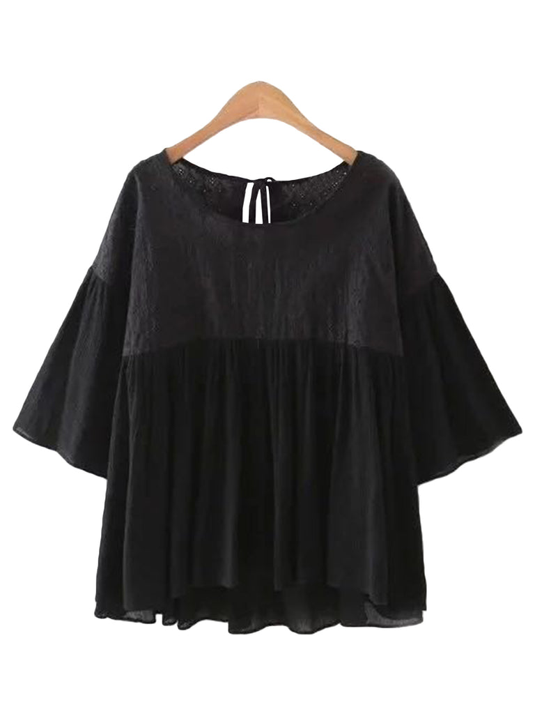 'Charis' Lace Pleated Flare Sleeve Peplum Top