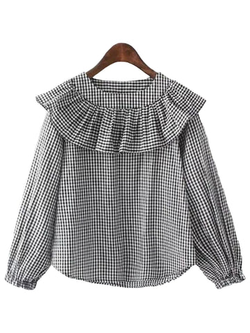 'Corinna' Ruffle Neck Checked Top