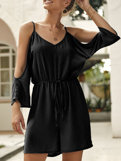 'Adrea' Cut-out Shoulder Tied Romper (5 Colors)