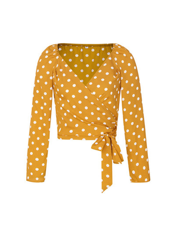 'Linda' Polka Dot Wrap Tied Top (4 Colors)