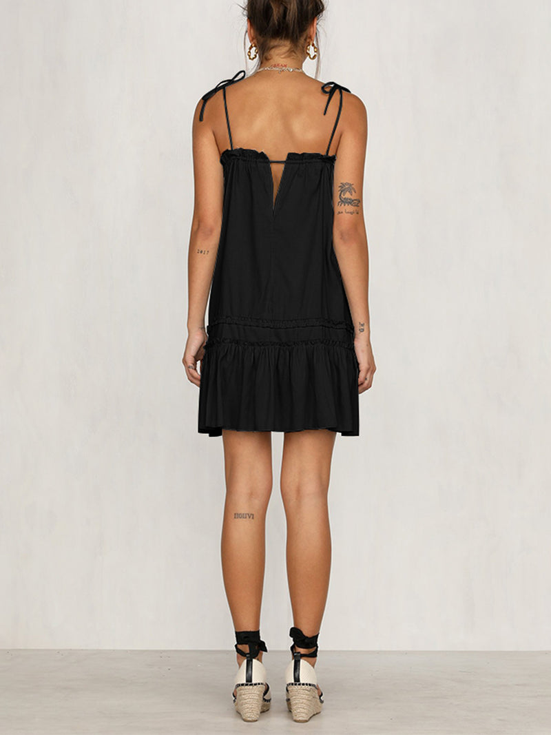 'Debbie' Tied Strap Frilled Dress (4 Colors)