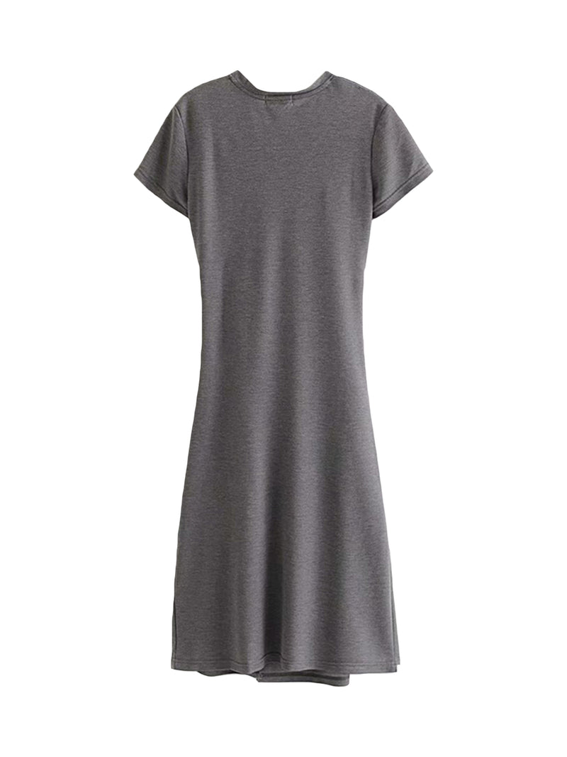 'Layla' Cinched Side T-shirt Dress (2 Colors)