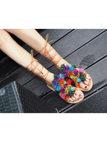 'Shelby' Tassels Pom Pom Lace Up Sandals