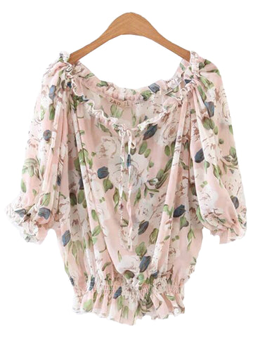 'Hurit' Pink Floral Off Shoulder Top