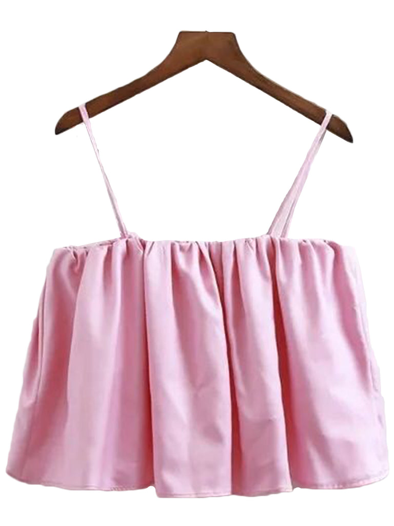 'Muni' Pink Cami Off Shoulder Cami Crop Top