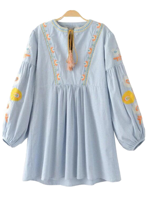 'Laura' Blue Embroidered Blouse