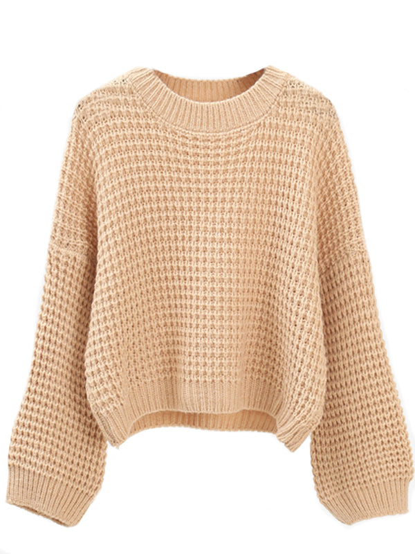 'Gretta' Crew Neck Waffle Knit Cropped Sweater (4 Colors)
