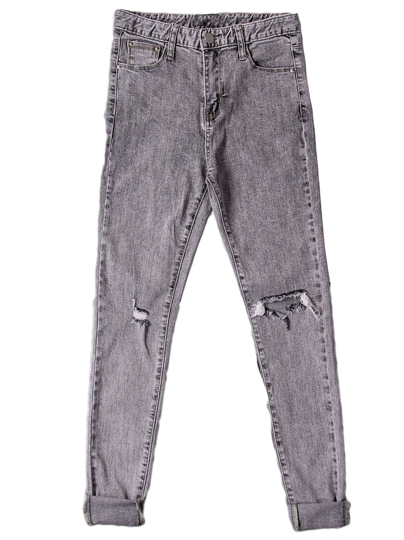'Natalie' Distressed High Waisted Cropped Skinny Jeans (2 Colors)