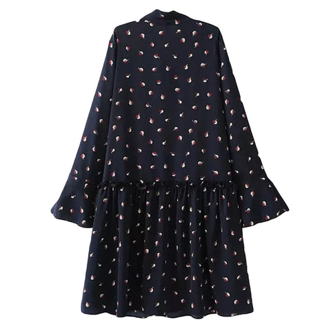 'Kaori' Navy Bow Dotted Dress - Goodnight Macaroon